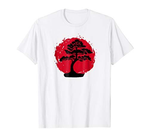 Bonsai Tree Tsunami Japanese Rising Sun Background T-Shirt -