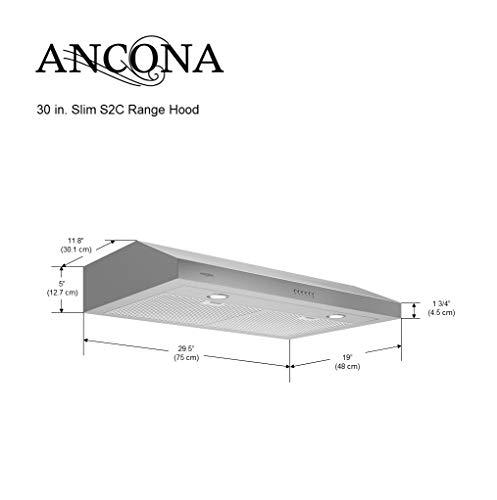 Amazon.com: Ancona AN-1295 Slim S2C 30 in. Campana de acero ...