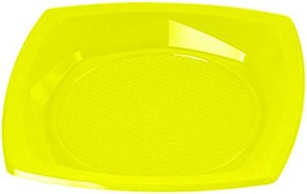 Sumicel Plato Amarillo de plástico Cuadrado 21 cm, Caja 1000 Unidades