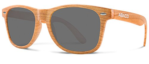 Abaco Tiki Sunglasses Dark Brown Wood Style Frame Polarized Grey - Sunglasses Tiki