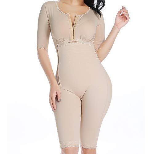 MISS MOLY Women's Full Bodysuit High Waist Tummy Control Slimming V Neck Shaper Butt Lifter with Sleeve Shapewear Nude