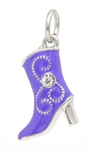Pandora Boot - J&M Dangle Purple Cowboy Boot with Crystal Charm Bead for Charms Bracelets