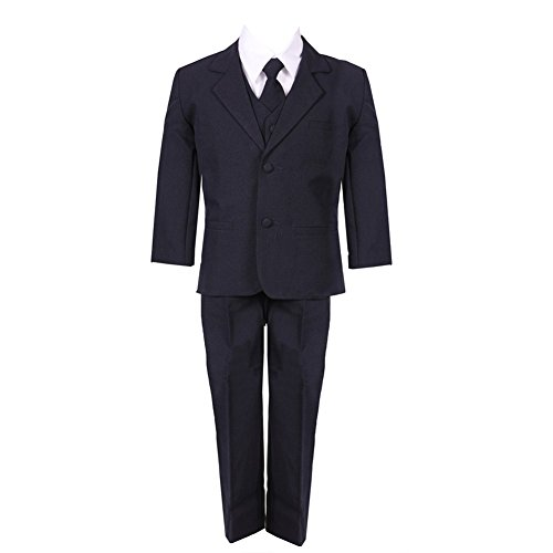 (Little Boys Navy Blue 5 Piece Classic Vest Jacket Pants Special Occasion Suit 6)