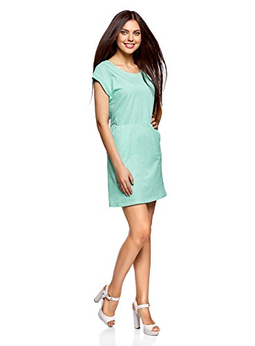 Turquoise avec Taille 7300n lastique Robe oodji Femme Maille Ultra w0ZxSqOqT