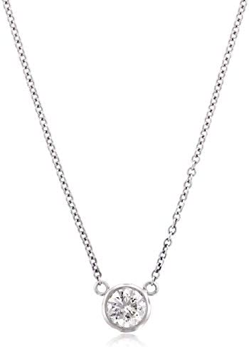 Stefano Navi 14K White Gold or 14k Yellow Gold Round Lab Grown Diamond Bezel Pendant Necklace (0.25 Carat - 0.40 cttw) F-G Color, VS1-VS2 Clarity (4.1-4.6 mm Diamond)