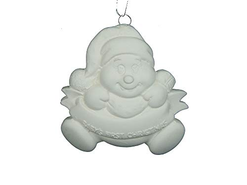 Baby's First Christmas Snowman Ornament - Unpainted Ceramic Bisque