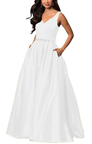yinyyinhs Women's V Neck Prom Dresses A Line Long Beaded Evening Formal Gowns with Pockets Size 10 White