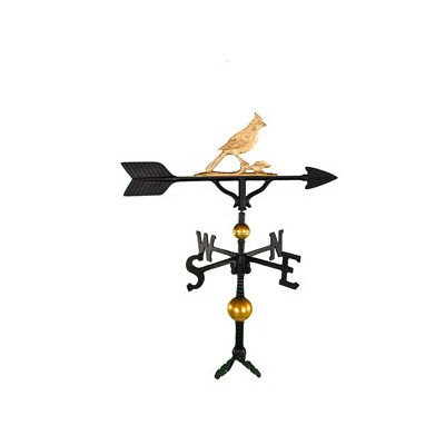 Weathervane Cardinal (Montague Metal Products 32-Inch Deluxe Weathervane with Gold Cardinal Ornament)