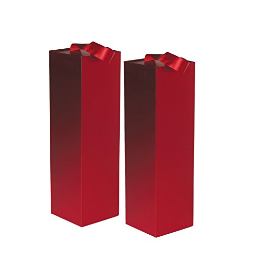 Jillson Roberts 2-Count Wine & Bottle Gift Boxes Available in 3 Colors, Red Gloss with Ribbon Handles