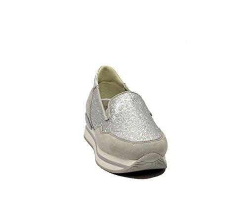 Hogan Slip On Sneakers Donna HXW2220T6716G4D3678 Camoscio Argento/Grigio