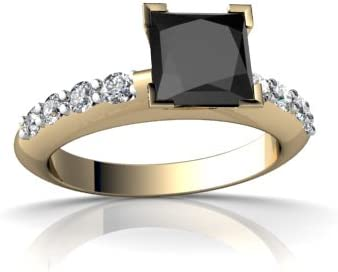 14kt Gold Black Onyx and Diamond 6mm Square Engagement Ring
