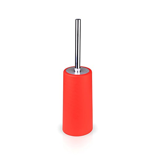 Toilet Brush with Holder, Long-Standing Slim Compact Design with Longer Brush for Cleaning Toilet Bowl, Red by Cleanfun