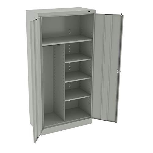 Tennsco 7214 24 Gauge Steel Standard Welded Combination Storage Cabinet, 5 Shelves, 150 lbs Capacity per Shelf (50 lbs per Half Shelf), 36