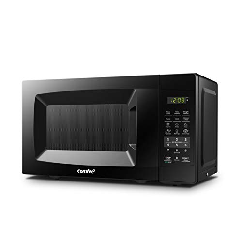 COMFEE' EM720CPL-PMB Countertop Microwave Oven with Sound On/Off, ECO Mode and Easy One-Touch Buttons, 0.7cu.ft, 700W, Black