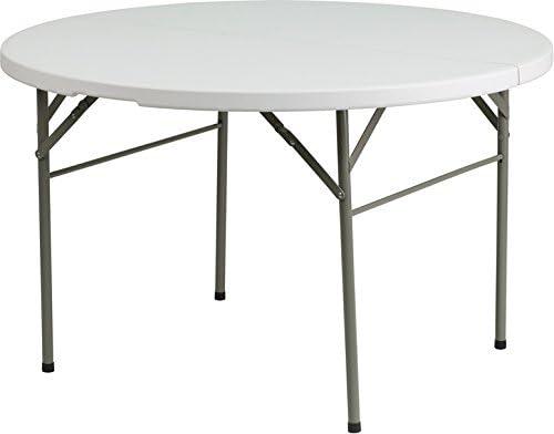 Emma Oliver 48 Round Portable Bi-Fold Granite White Plastic Banquet Event Folding Table
