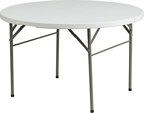 Flash Furniture 48'' Round Bi-Fold Granite White Plastic Folding Table by Flash Furniture