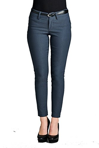 YourStyle Basic Office Belted Bengaline Stretch Pants,Twill Pants, Classic Woven Pants W/Belt (Small, P31-Charcoal) (Belted Classic Belt)