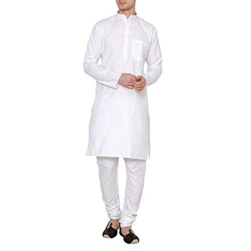 Linen Kurta - Royal Kurta Men's Cotton Linen Kurta Pyjama 44 White
