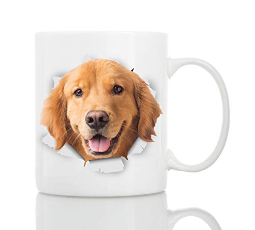 Retriever Golden Christmas Stockings (Golden Retriever Coffee Mug - Ceramic Funny Coffee Mug - Perfect Dog Lover Gift - Cute Novelty Coffee Mug Present - Great Birthday or Christmas Surprise for Friend or Coworker, Men and Women (11oz))