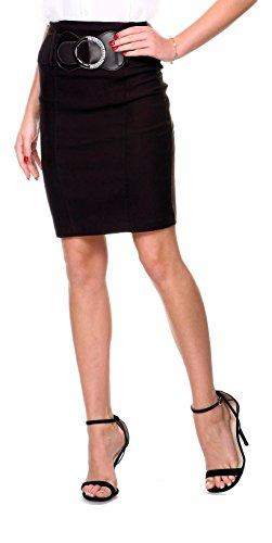 Stanzino® Women's High Waisted Belted Knee Length Pencil Skirt