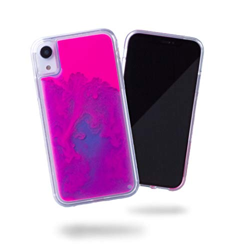 SteepLab Flowing Neon Sand Liquid iPhone XR Case - Full Body Protection with Raised Bezel - Blueberry and Pink Glow