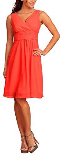 My Evening Dress -Vestido corto fiesta cóctel en gasa cuello pico Coral