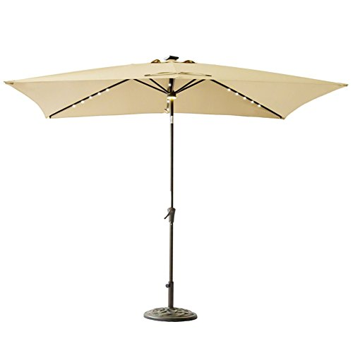 Led Umbrella Amazon: C-Hopetree Rectangle LED Patio Umbrella, 6ft 6in X 10 Ft