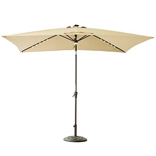 C-Hopetree Rectangle LED Patio Umbrella, 6ft 6in x 10 ft' Outdoor Market Parasol with Crank Winder, Push Button Tilt, Beige (Patio Rectangle Umbrellas)