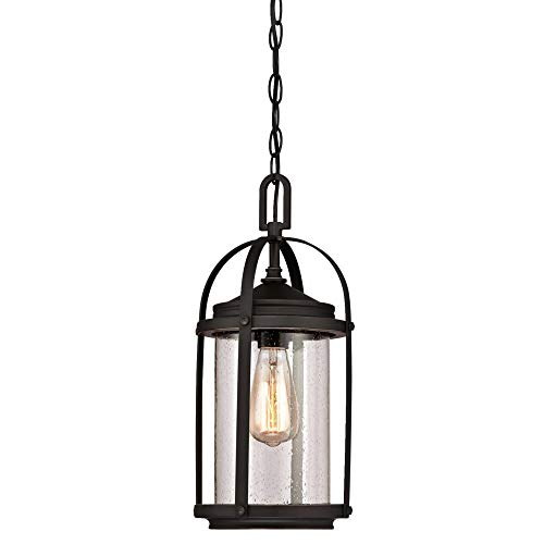Westinghouse Lighting 6339400 Grandview One-Light Outdoor Pendant, Oil Rubbed Bronze Finish with Highlights and Clear Seeded Glass (Renewed)