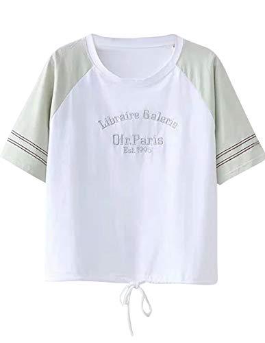- Women Graphic Print Crop Top Color Block Round Neck Tie up Summer Short Sleeve Tee T-Shirt Blouse Teen Girls Green