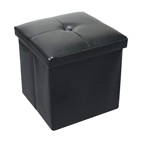 - URBANSEASONS Home Foldable Tufted Faux Leather Storage Ottoman Square Cube Foot Rest Stool/Seat - 12