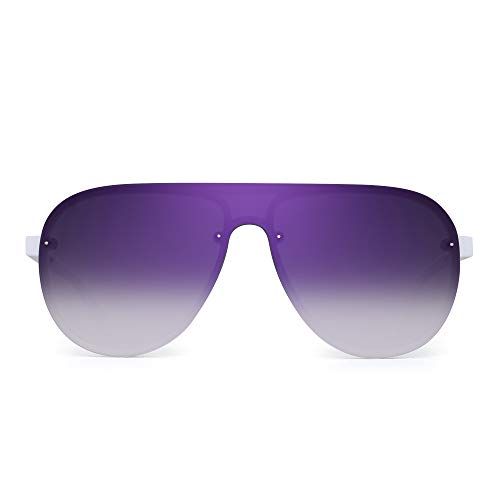 JIM HALO One Piece Shield Sunglasses for Men Women Flat Top Rimless Mirror Lens (White Frame/Flash Purple Lens)