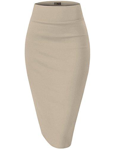 Womens Premium Stretch Office Pencil Skirt KSK45002 Stone Medium