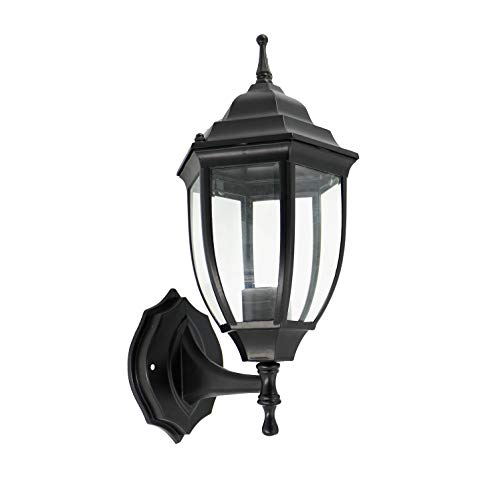 OSTWIN 1-Light Outdoor Exterior Wall Up Lantern, Traditional Porch Patio Lighting Fixture L04 with One E26 Base, Water-Proof, Black Cast Aluminum Housing, Clear Glass Panels, ETL Listed