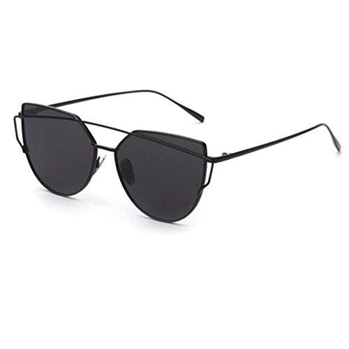 metálico mujeres gato marco de del de ASHOP del de del Negro del las Gafas espejo sol ojo Gafas BWYqqz