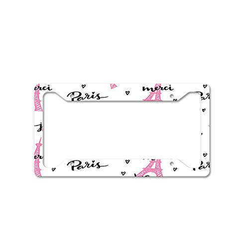 DIY Rine Love Paris Je Taime Merci License Plate Frame Novelty Auto Car Tag Vanity Gift for Law Enforcement