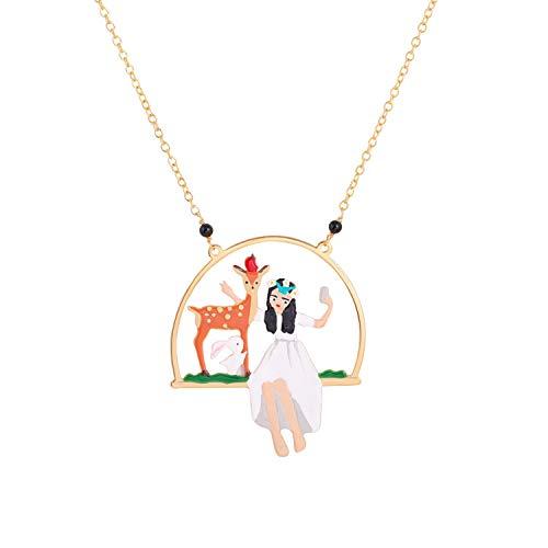 MKHDD Mujeres de la Historieta Linda Little Red Riding Hood Charm Colgante Collares Esmalte Oro Cadena Collar de la joyería...