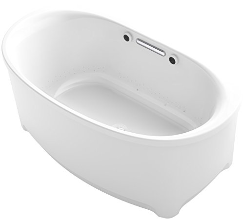 Oval Air Bubble (KOHLER K-5702-G-47 Underscore Oval Freestanding Bubble Massage Air Bath Tub with Center Drain, 60