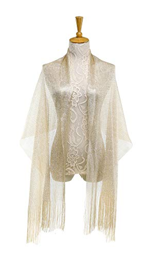 1920s Gatsby Weddings Evening Scarfs,Sheer Glitter Sparkle Piano Shawl Wrap (Metallic Champage)