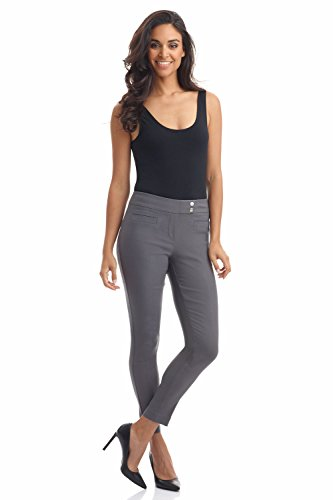 Rekucci Women's Ease in to Comfort Slim Ankle Pant with Snaps (8,Graphite)