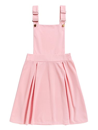 Romwe Women's Cute A Line Adjustable Straps Pleated Mini Overall Pinafore Dress Pink S