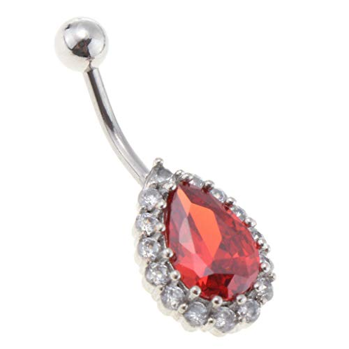 (14G Belly Button Rings Water Drop Cubic Zirconia Navel Rings for Women Girls (Color - Silver + Red))