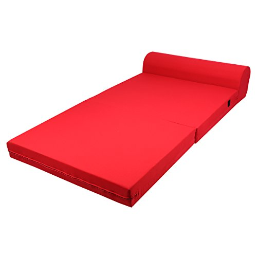 the red colored Magshion Futon Furniture Sleeper Chair in full view