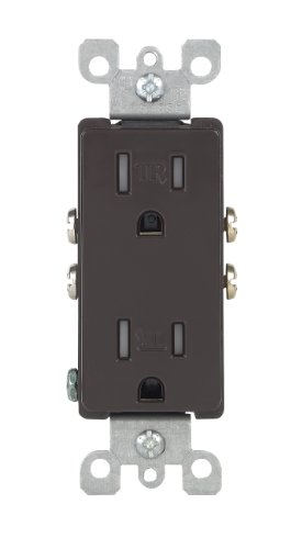 Leviton T5325 15 Amp 125 Volt, Tamper Resistant, Decora Duplex Receptacle, Straight Blade, Grounding, (Brown Electric Inc)