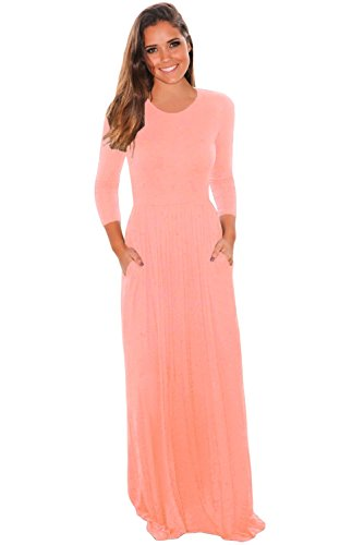 Women's Solid Long Maxi Casual Dress O Neck 3/4 Sleeve with Pockets Basic Summer Dresses Beach Cover Up (M, Pink)