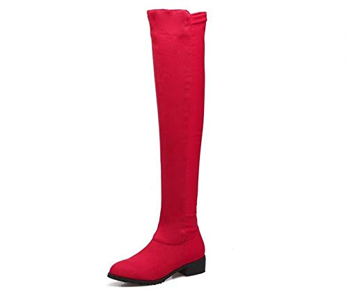 unyielding1 Women's Thigh High Fashion Over The Knee Thigh High Block Heel Boots(Red 43/11 B(M) US ()