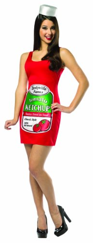 Adult Ketchup Costumes (Rasta Imposta Zestyville Ketchup Tank Dress, Red, Adult 4-10)