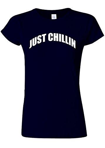 レモン決定八Just Chillin` Chilling Cool Novelty Navy Women T Shirt Top-M