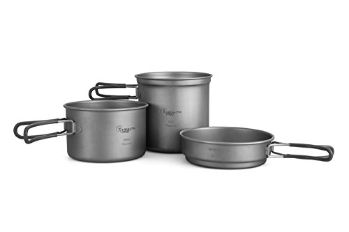 Titanium Cookset - ProHealth HealthPro Titanium Lightweight 3-Piece (1.2L, 800ml, 400ml) Pot and Pan Camping Hiking Mess Kit Cookware Set