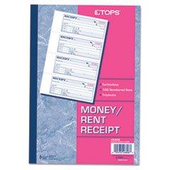 * Money/Rent Receipt Books, 2-3/4 x 7 1/8, Three-Part Carbonless, 100 Se